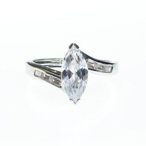 VINTAGE MARQUISE CUBIC ZIRCONIA ENGAGEMENT RING